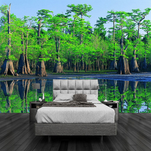 HD Green Primeval Forest Landscape 3D Photo Mural Wallpaper Living Room TV Sofa Bedroom Backdrop Wall Design 3D Wallpaper Fresco(China)