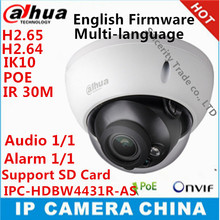 original Dahua IPC-HDBW4431R-AS 4MP CCTV IP Camera Support IK10 IP67 Audio and Alarm PoE Camera With IR Range 30m dome camera
