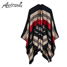 [AETRENDS] 2017 New Vintage Cashmere Feel Ponchos Women Long Striped Winter Poncho Scarf Cape Z-5475()
