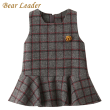 Bear Leader Girls Dress 2017 New Autumn Brand Girls Clothes Sleeveless Classical Plaid With Flower Accessories Children Clothing(China)