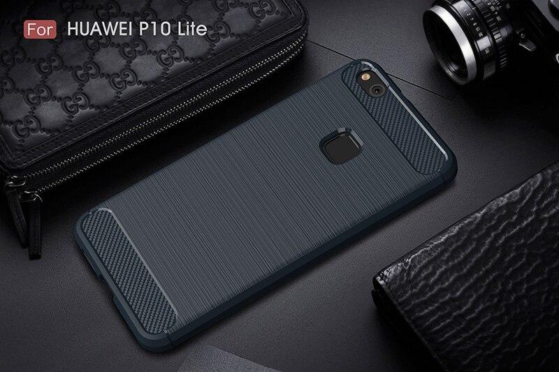 carbon fiber brushed silicone case huawei P10 Lite (11)