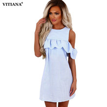 Buy VITIANA 2017 Women Shoulder Ruffle Summer Dress Pink Blue Striped Casual Short Clothing Robe Beach Sexy Dress Vestidos for $11.07 in AliExpress store