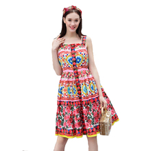 2018 Spring Summer Designer Dress Women's High Quality Sweet Fancy Flower Printing Crystal Button Boutique Spaghetti Strap Dress