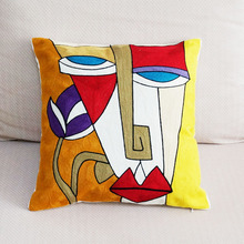 100% Canvas Abstract Painting Cushion Cover Embroidered Square Pillow Cover Car Chair Sofa Pillow Case 45x45cm Without Stuffing