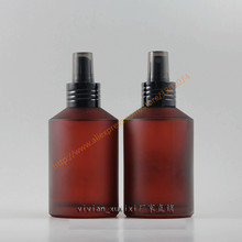 200ml red rose frosted Glass bottle with black aluminum pump/sprayer,cosmetic packing,cosmetic bottle,for liquid/perfume/lotion