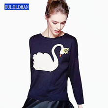 Women Sweater Pullover Autumn Winter Warm Long Sleeve Cartoon Jumper Cotton Knitted Casual Coat Swan Jacket Tops Sueter Cashmere(China)