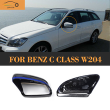 Replace Carbon side mirror Covers caps Shell Mercedes Benz C Class W204 Facelift 2011 - 2016 White Chrome JUN-CHI Official Store store