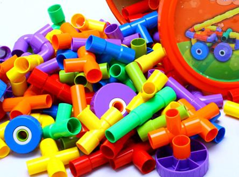 Plastic Pipeline Tunnel Style Building Blocks with Wheels Toy Educational Toys for Children F16600<br><br>Aliexpress