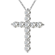 SALE Shining crystal silver Fashion Nice cz stone Cross jesus god pendant Necklace Wholesale Price Factory Direct Sale(China)