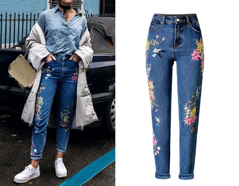 Women\'s three-dimensional 3D heavy process bird flower front and rear embroidery high waist Slim straight jeans large size system (2)