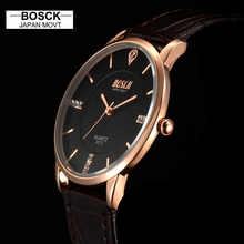 BOSCK Super slim men Wristwatch Business JAPAN Brand Genuine Leather Men's Quartz Watch 2017 relojes hombre relogio masculino