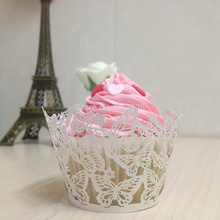 50pcs Laser Cut butterfly Cupcake Wrappers Butterfly Cake Cup wrapper and Cake Case Cake Decoration