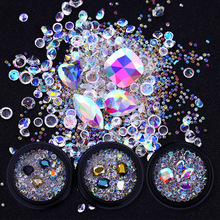 AB Color Crystal Beads 3D Nail Art Decorations Sharp Bottom DIY Rhinestones Body Art Nail Decoration Accessories Manicure UV Gel