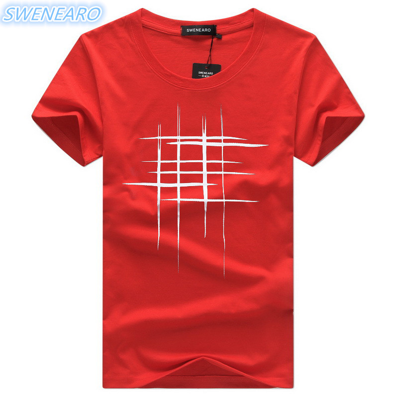 SWENEARO Men T-Shirts Summer Short Sleeve t shirt men Simple creative design line cross print cotton Men Brand t-shirts (China)