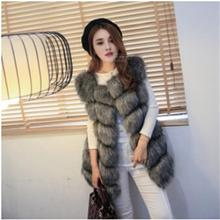 New 2016 Winter Coat Women Fur Vest  With a Pocket  High-Grade Faux  Fur Coat Leisure Women Fox Fur Long Vest Plus  Size:S-XXXXL