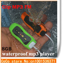 2015 High Quality Hifi 8GB waterproof mp3 Player swimming pools FM radio Headphones Mini Clip Mp3 Music Player mp3 download