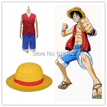 Free shipping One piece Cosplay Costumes Monkey D. Luffy 1st Cosplay T Shirt+Pants+Hat a set uniform