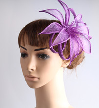 High quality color sinamay fascinator headwear colorful mesh wedding party show hair accessories millinery cocktail hat MYQ105(China)