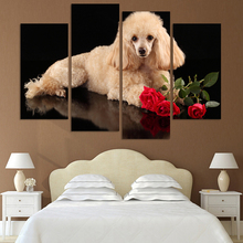 No Frame 4 Pcs High Quality Art Pictures Dogs and Roses Large HD Modern Home Wall Decor Canvas Printing