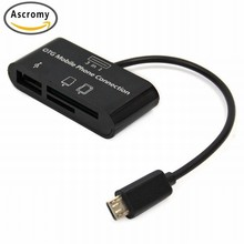 Ascromy 3 in 1 USB Connection Kit HUB SD MMC TF CardReader Adapter For OTG Mobile Phone Meizu m3s m3 Note U10 U20 M5 M5s E2 E 2