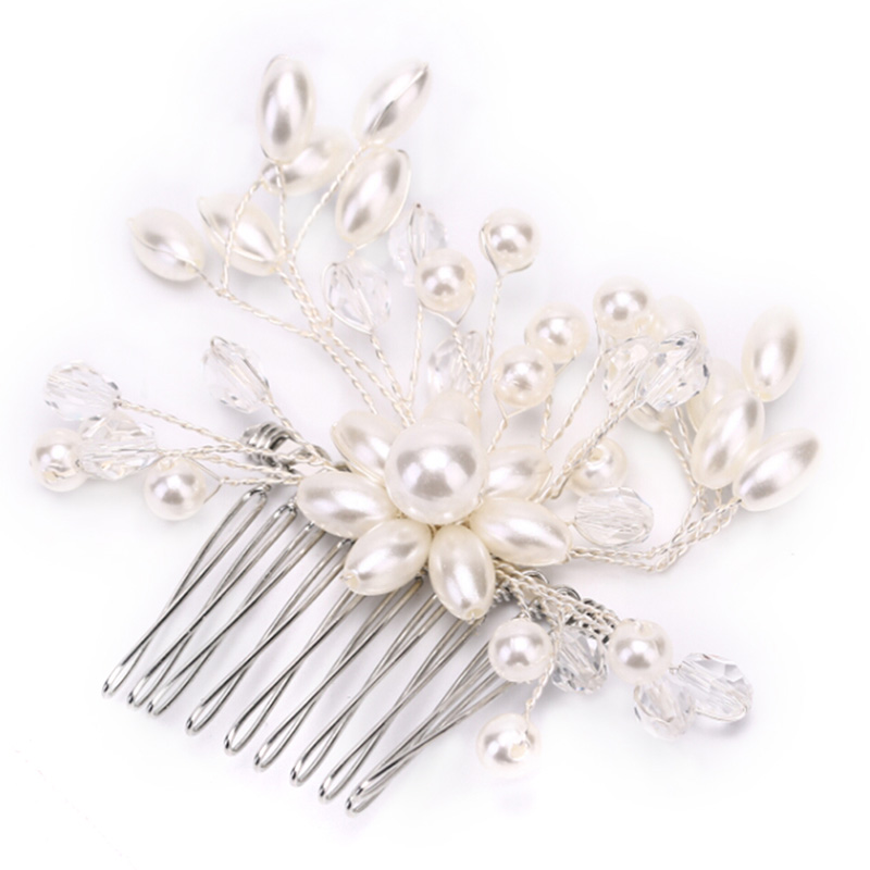 Pearl Flower Hair Comb Handmade Silver Bride Tiaras Crowns Headpiece For Women Wedding Bridal  Hair Jewelry Accessories