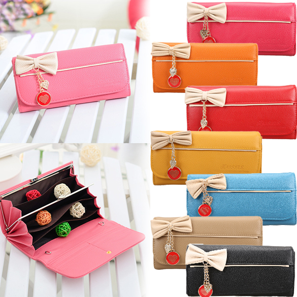 Love Womens Elegant Bowknot Purse Pendant Girl Magnet Snap-fastener Lady Wallet 8 Colors  BS88<br><br>Aliexpress