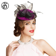FS 100% Australian Wool Purple Red Pillbox Hat With Veil Fedoras Wedding HatS Ladies Black Mesh Women Tweed Cap Bone Feminino