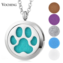 10pcs/lot 30mm 316L Stainless Steel Essential Oil Diffuser Locket Paw Print Necklace Pendant Magnetic without Oil Pads VA-270*10(China)