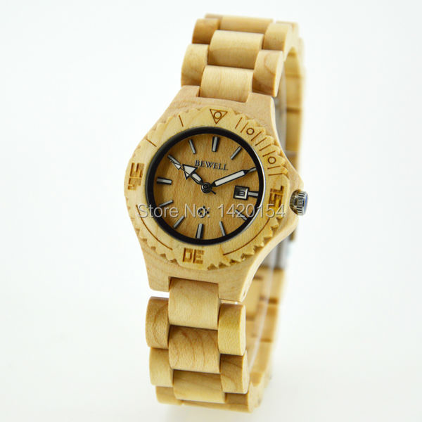 Hot Sell Vintage Womens Watches Bewell Quartz Waterproof Lover Wooden Watch<br>