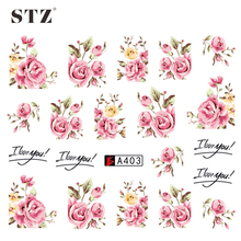 STZ 1 Sheets 2017  DIY Designer Water Transfer Tips Nail Art Pink Rose Flower Sticker Decals Women Beauty Wedding Nails A403