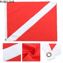 1pcs 35x50cm Polyester Hot Big Diver Down Boat Pennant Flag Scuba Diving Banner International Sign Diving Supplies LTT9293(China)