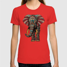 Brand clothing Recommend t shirts women's Ornate Elephant Short O neck Letter Cotton Seven colors(China)