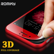 Romiky 3d curved edge full cover Tempered Glass For iPhone 7 6S 6 PLUS 6S PLUS Echt Glas Soft Carbon Fiber edge Screen Protector