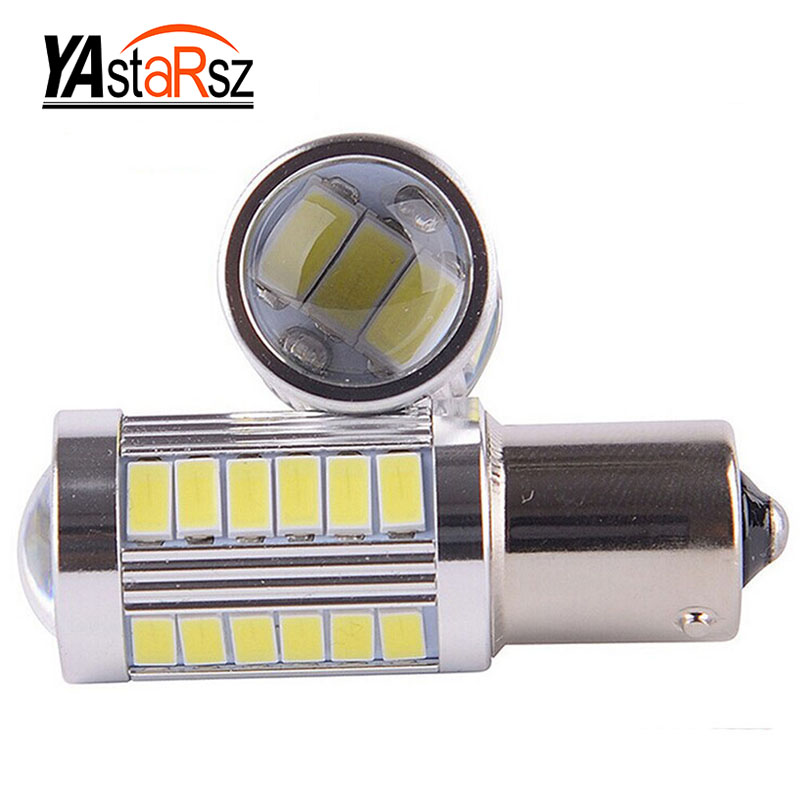 1pcs 33smd 5630 5730 led 1156 BA15S P21W Car Tail Bulb Brake Lights auto Reverse Lamp Daytime Running Light red white yellow 2X(China)