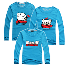 Children's Clothing Family Matching Outfits New 2016 Cartoon Bear More Color Baby Boys Girls Long Sleeve T shirts Mother & Kids