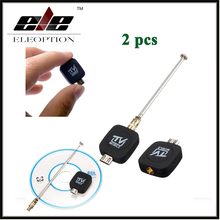 2 PCS New Micro USB Digital Mobile TV HDTV Tuner Mini DVB-T Satellite Receiver for Android DVBT Dongle with Antenna