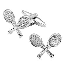 DY-4 High quality men's jewelry shirt cuff Cufflinks sport tennis racket brass Silver Cufflinks wholesale and retail(China)