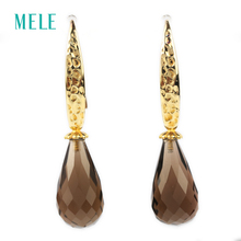 Natural smoky quarts silver earring, tear drop 10mm*20mm, deep color and all clean quality, nice cutting, only this one