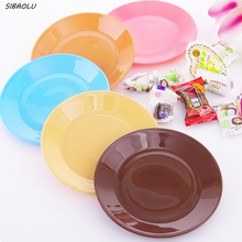2 Pcs/lot  New Creative Tableware flat plate saucer seeds snack food-grade plastic snack dish  Candy colors melamine plates
