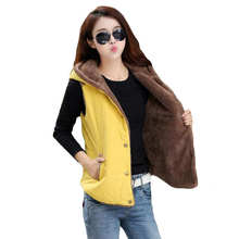 Women's Coral Fleece Hooded Collar Down Vest High Quality Brand New Female Winter Warm Jacket&Outerwear Thicken SS232(China)