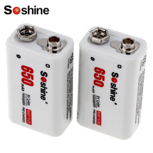 2pcs! Soshine 650mAh 9V Li-ion Rechargeable Battery 9 Volt Rechargeable Lithium Battery(China)