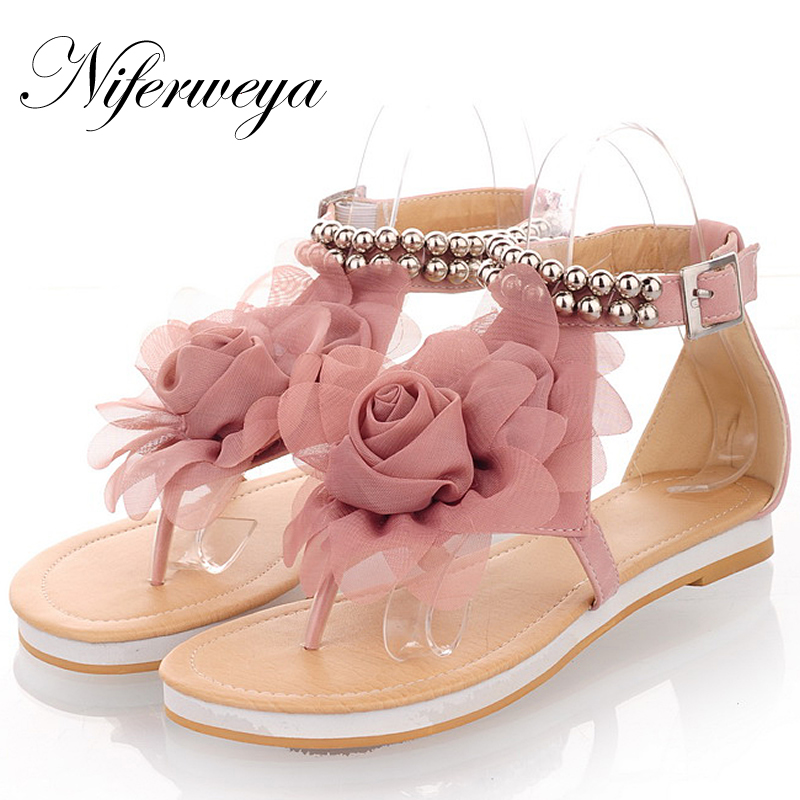 Big size 31-43 fashion sweet summer women shoes PU leather Beading flats flowers decoration Buckle thong sandals HXZ-228-1<br><br>Aliexpress