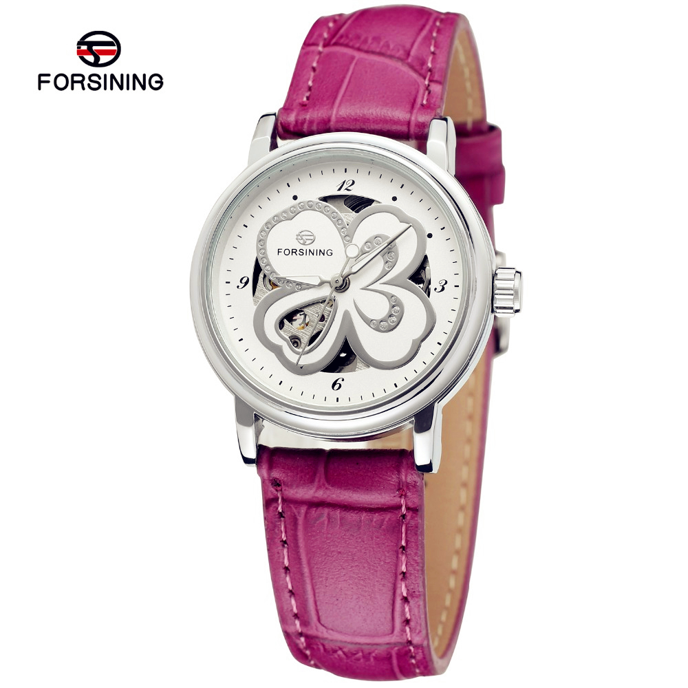 Fashion FORSINING Women Sexy Ladies Leather Strap Self Wind Watch Automatic Mechanical Wristwatch Gift Box Relogio Releges 2016<br><br>Aliexpress