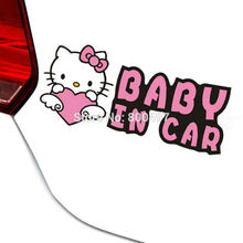 Hello Kitty Baby in Car Stickers Lovely Heart Car Decal for Toyota Ford Chevrolet Volkswagen Tesla Honda Hyundai Kia Lada(China)