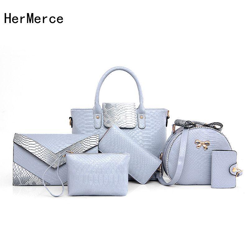 HerMerce Fashion Bag Women Bags Handbags Women Famous Brands 6 Piece Handbags Sets Crocodile Ladies Shoulder Bag Bolsos Mujer<br>