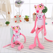 1pc 80cm Super Cute Stuffed Animal Shin Leopard Pink Panther T-shirt Plush Toy Doll birthday gift christmas present(China)