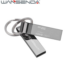 Wansenda 128gb Metal USB Flash Drive 64gb16gb Pen Drive stainless steel 8gb USB memory stick 32gb USB2.0 pendrive with key ring(China)