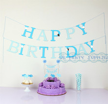 1 Set Light Blue Cake Accessory Party Garland Happy Birthday Decoration Table Setting Boys Blue Girls Pink Cake Topper Straws(China)