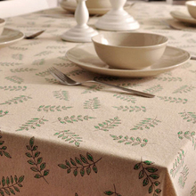 Quality green olive leaf pattern cotton&Linen tablecloth pastoral lace Southeast Asia simple home decorative table covers square
