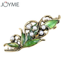 Women's vintage hairpins Hair clip jewelry accessories zinc alloy ancient bronze plated enamel folwer style and pearls(China)